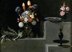 Juan van der Hamen - Stiil life with flowers, articholes cherries and glass, 1627, Prado