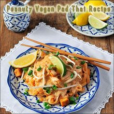 Peanuty Vegan Pad Thai Recipe- when I make dishes like this I use powdered peanut butter to cut the fat and also use homemade coconut milk(coconut extract and water) to cut even more fat. This recipe is fantastic! My family loves Thai food and they will eat anything with bean sprouts. :-)