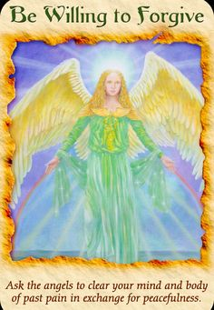 Today's Angel Card comes from Angel Therapy Cards Doreen Virtue. Today's card : Be willing to forgive. Ask the Angels to clear you. Doreen Virtue, Chakras, Angel Readings, Psychic Readings, Archangel Raphael, Raphael Angel, Angel Prayers, Novena Prayers, Angel Guidance