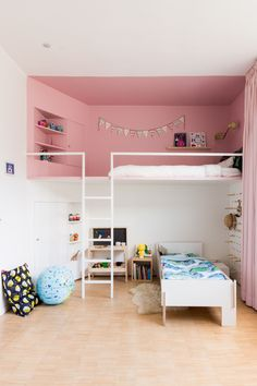 Roomin is an online interior design inspiration platform. Interior Door Trim, Room Interior Design, Room Decor Bedroom, Kids Bedroom, Cool Beds For Boys, Small Attic Bathroom, Deco Kids, Childrens Beds, Colorful Interiors