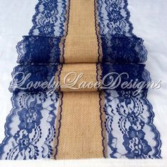 NAVY BLUE Burlap Lace Table Runner/ 5ft-10ft x13in Wide, Wedding Decor /Weddings/Etsy Finds/Summer Finds/Tabletop Decor/Rustic by LovelyLaceDesigns on Etsy