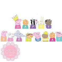 Custom Printable Peppa Pig Themed Girl Pastel Birthday by SageLeia Peppa Pig Happy Birthday, Peppa Pig Birthday Invitations, Pig Birthday Cakes, Baby Birthday, Dibujos Baby Shower, Imprimibles Baby Shower, Peppa Pig Printables, Scrapbook Bebe, Party Characters