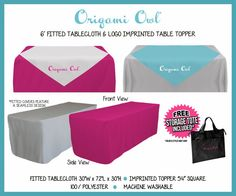 Fitted Tablecloth for 6 Foot Table and Table Topper Imprinted with Origami Owl Logo for Event Displays - FREE SHIPPING!