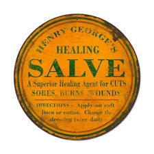 """Henry George's Healing Salve retro pharmacy ad vintaged metal sign 14"""" round"""