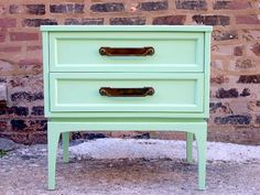 Mid Century Mint Green Side Table