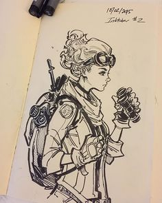 Inktober #2 - 15 min. Lola sketch, Aaaaand back to the drawing board, it's crunch time! #lolaxoxo #inktober2015 #inktober