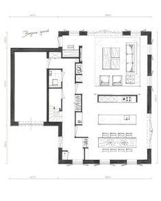 Garage House Plans, Small House Plans, House Floor Plans, Atrium House, Facade House, Stone Cabin, Architectural Floor Plans, Apartment Plans, House Drawing