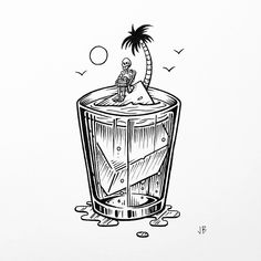 Drink Alone, Sink Alone... #jamiebrowneart #drink #sink #alone #restyourbones #skeleton #palmtree #rum #sun #thatsinkingfeeling #thirsty #thursday #tropical #doom #oblivian #froth #booze #lazy #california #beach #staychill #jb