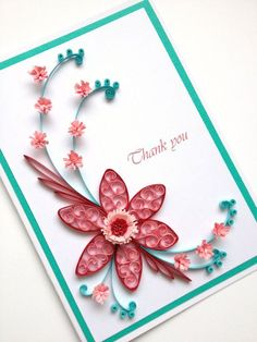 Paper Quilling Thank You Card. Quilled Handmade Paper by Joscinta, | http://creativehandmadecollections.blogspot.com