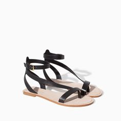 Image 2 of LEATHER ANKLE STRAP SANDAL from Zara