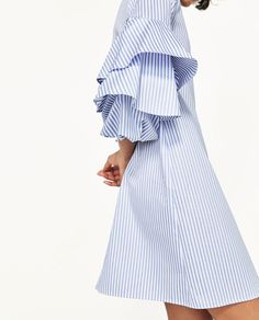 STRIPED DRESS WITH FRILLED SLEEVES.