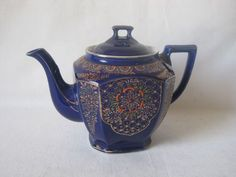 Tea Pot w Lid Cobalt Blue Hand Painted Made in Japan Vintage Collectible 38 oz  /54.00