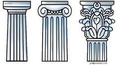 Greek Columns - Doric, Ionic, Corinthian (This is one I learned on the go while touring around Greece - the words go up one syllable for each stage) - Ancient Greece for Kids