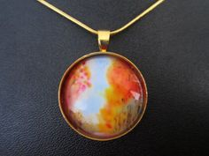 Gold Orange Abstract Round Pendant Wearable by TheVenusCollection