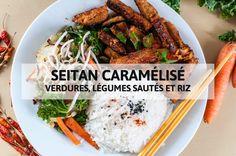 [Recette] Seitan caramélisé, verdures et légumes sautés et riz {option sans gluten}   http://veggieromandie.ch/recette-seitan-caramelise-verdures-et-legumes-sautes-et-riz-option-sans-gluten/