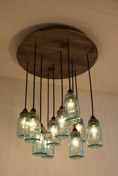 I would like to see this in my kitchen ---  Mason Jar Chandelier  Antique Blue Mason by Bornagainwoodworks, $475.00