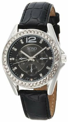 XOXO Women's XO3185 Rhinestone Accent Dial Black Crocodile Strap Watch XOXO. $19.99. Silver-tone round case with rhinestone accent bezel. Durable mineral crystal, chronograph design on face (does not function as a chronograph watch). Two layers dial - matte black upper and black sunray lower, with rhinestone accent. Quality Quartz movement with analogue-display. Black crocodile strap with buckle closure