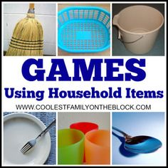 Minute to Win It Housework Games: Games that you can play with household items such as a broom, bucket, iron board, laundry basket, forks, spoons, plates, and cups! #nohousework #nohouseworkday