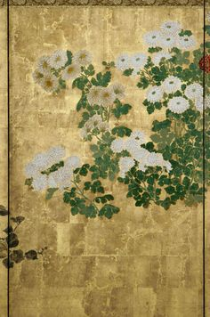Detail. Flowers of the Four Seasons | Japanese byobu. This fine pair of 6-panel folding screens presents a journey through the four seasons of the year by representative plants and flowers for each season. For example, plants representing the spring are the kodemari, sumire, and yamabuki. The summer is represented by the iris, lily, nadeshiko, aoi, and kiri. The fall by the chrysanthemum, morning glory, bush clover, ominaeshi, and susuki. And the winter is represented solely by the…