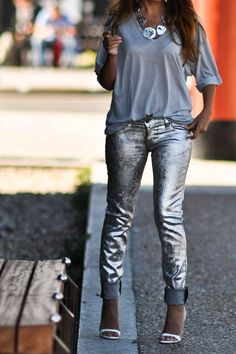 Simona Mar: Hologram Silver Foiled Jeans