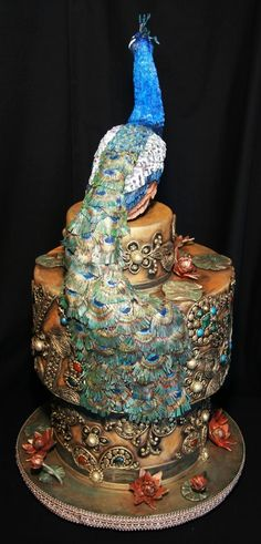 India Peacock Wedding Cake - Cakes By Kim Simons