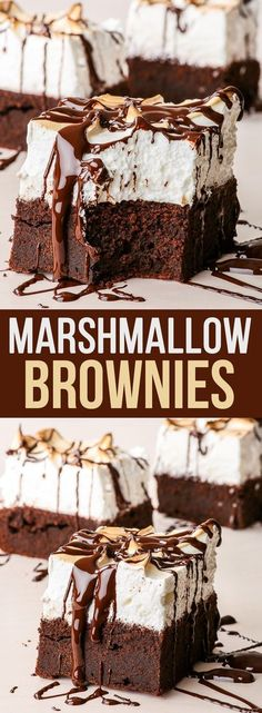 Sky High Marshmallow Brownies- You will love these marshmallow brownies. Combines two of the best things ever – a fudgy, dense, chocolatey brownie and the fluffiest marshmallow meringue frosting you could possibly imagine.