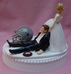Wedding Cake Topper - Dallas Cowboys Football Themed Funny