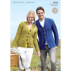 FREE PATTERN Sirdar Hayfield Bonus Aran Cardigans Knitting Pattern