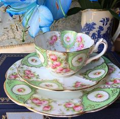 beautiful cup, saucer and luncheon plate