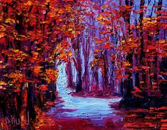 impressionistic fall trees | ... fall trees art painting impressionist paintings by Debra Hurd