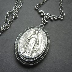 Miraculous Medal Antique French Brushed Silver by 12StarsVintage