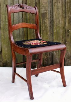 Antique Early American Shabby Cottage Tell City Style Carved Rose Mahogany Wood Side Chair Needlepoint Detail Furniture