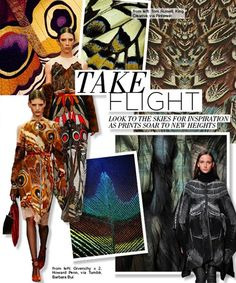 FALL/WINTER 2015-16 PRINT TRENDS : TAKE FLIGHT: From butterflies to birds, use the sky for inspiration as animal prints channel winged creatures this season.
