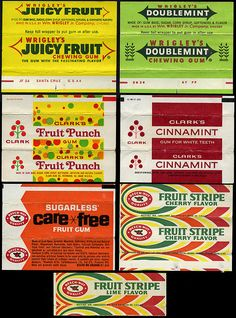I forgot about Care Free Fruit gum! ---Wrigley's, Clark's, and Beech-Nut gum wrappers - Retro Candy, Vintage Candy, Vintage Food, Those Were The Days, The Good Old Days, My Childhood Memories, Sweet Memories, 90s Childhood, Old School Candy
