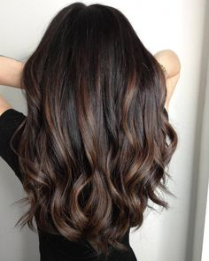 She was tired of her virgin black hair and wanted something subtle with a little dimension ~ Espresso infusion ☕. She was tired of her virgin black hair and wanted something subtle with a little dimension ~ Hair Color Dark, Cool Hair Color, Brown Hair Colors, Hair Color Ideas For Black Hair, Brown Hair Balayage, Hair Color Balayage, Subtle Balayage Brunette, Balayage For Asian Hair, Dark Brunette Balayage Hair