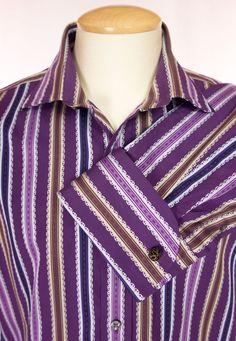 TED BAKER Mens Dress Shirt Size 17 43.5 L Large Purple Stripe French Cuff #TedBaker