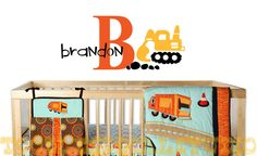 Construction Digger Boys Personalized Name Monogram Initial Kids Vinyl Wall Decal Sticker. $28.50, via Etsy.