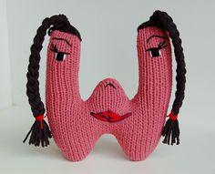 Letter W - Alphabet Plush Toy Knitting PATTERN - Wendy