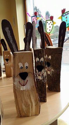 Ostern-Deko aus Holz: Osterhasen