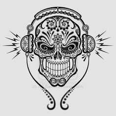 Coloring Page Skull Sugar Mexican Candy | DJ Sugar Skull by Jeff-Bartels on deviantART