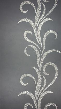 Metallic silver swirls on a medium charcoal gray wallcovering - Osborne  Little: W5644-01.  We hang wallpaper in the #Bellingham WA area.  http://www.northpinepainting.com