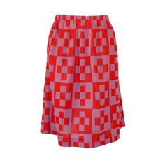 Preowned Rudi Gernreich Red & Purple Check Knit A-line Skirt ($495) ❤ liked on Polyvore featuring skirts, red, red knit skirt, stretchy skirt, checkered skirt, purple skirt and knit a line skirt