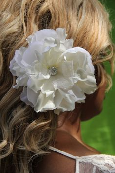 Wedding hair clip Large White and Ivory Flower with Ivory Lace by PetalPushersHair www.etsy.com/shop/petalpushershair