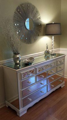 Mirrored Dresser White with Quatrefoil overlay by MirroredJewels