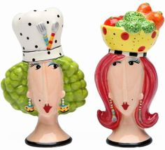 Appletree Design Chef and Lady Salt and Pepper Set, 4-Inch by Appletree Design inc. $19.81. Functional and decorative salt and pepper set. Hand wash only, do not put in dishwasher. Comes gift boxed, will make a great gift for yourself or someone special. Ceramic and dolamite material. constructed with quality and durability in mind.. Unique and colorful, add fun and whimsy to your kitchen and home décor. Appletree Design is noted for its collection of whimsic...