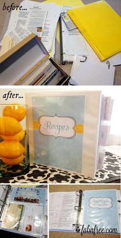 Organize your recipes all in one place!!  This also makes a great wedding or bridal shower gift!  //  Free Recipe Binder Printables  //  fabnfree.com