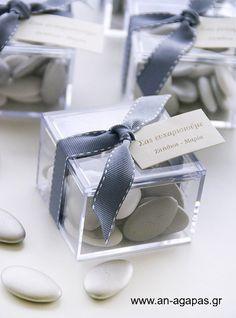 Μπομπονιέρα γάμου plexiglass κορδέλα γκρι – Favor Kit | an-agapas.gr