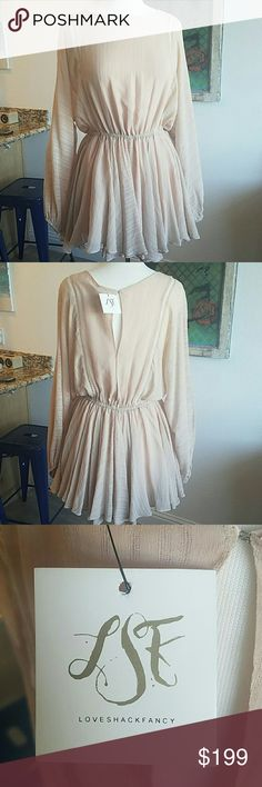 NWT LOVESHACKFANCY 100% silk Noelle dress in Rose New! Beautiful silk dress. LoveShackFancy Dresses Mini
