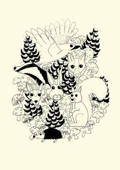 Plakat skovens dyr. LS illustrationer