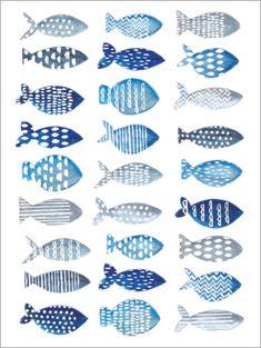 Ideas For Watercolor Art Fish Watercolour Watercolor Fish, Watercolor Pattern, Watercolor Paintings, Green Watercolor, Fish Crafts, Ideias Diy, Fish Patterns, Fish Design, Fish Art